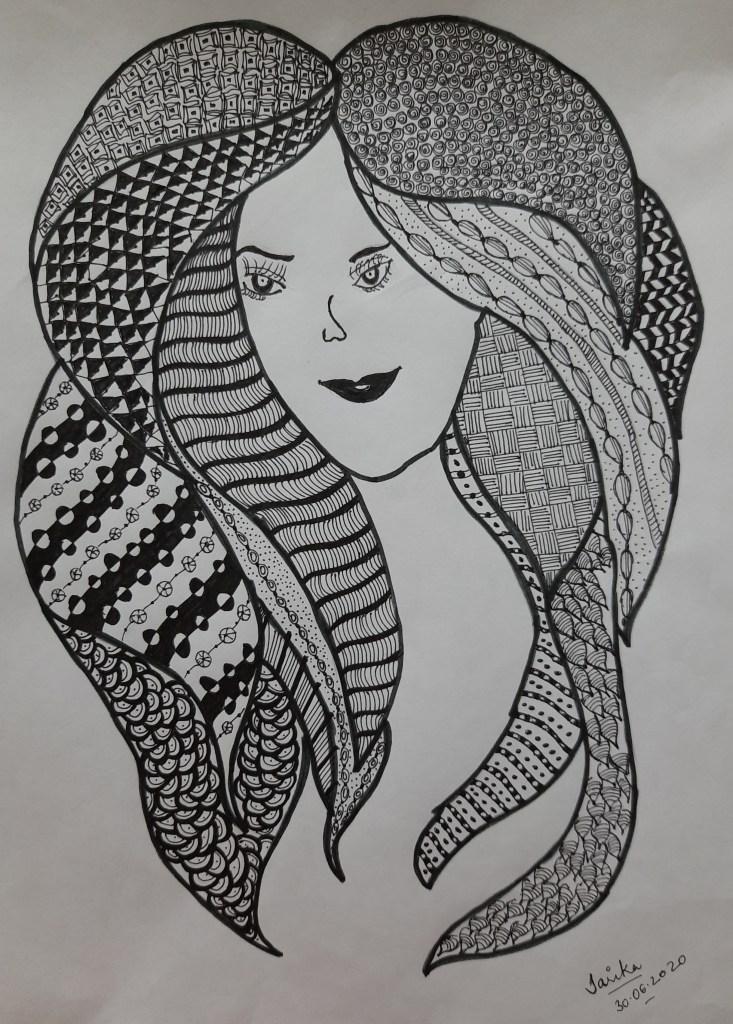 Pretty-Girl Zentangle_Sarika