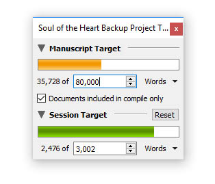 A screenshot of Scrivener's manuscript and session word count target trackers.