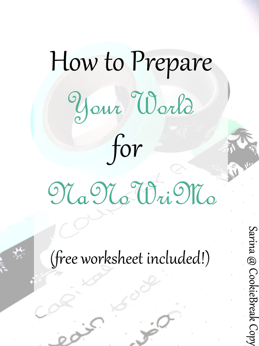 NaNoWriMo Prep Sessions - Week 2 | Your World Allow me to help you prepare for NaNoWriMo! Whether you're doing camp or the main event, I hope these posts will help you get ready without over-preparing.