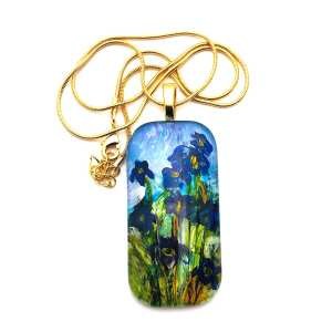 Iris pendant necklace Inspired by Monet Hand Painted Glass Pendant Necklace