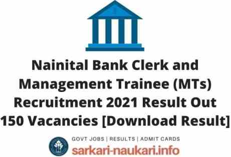 Nainital Bank Clerk and Management Trainee Recruitment 2021 Result