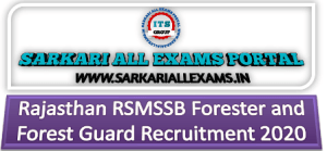 Rajasthan RSMSSB Forester and Forest Guard Recruitment 2020