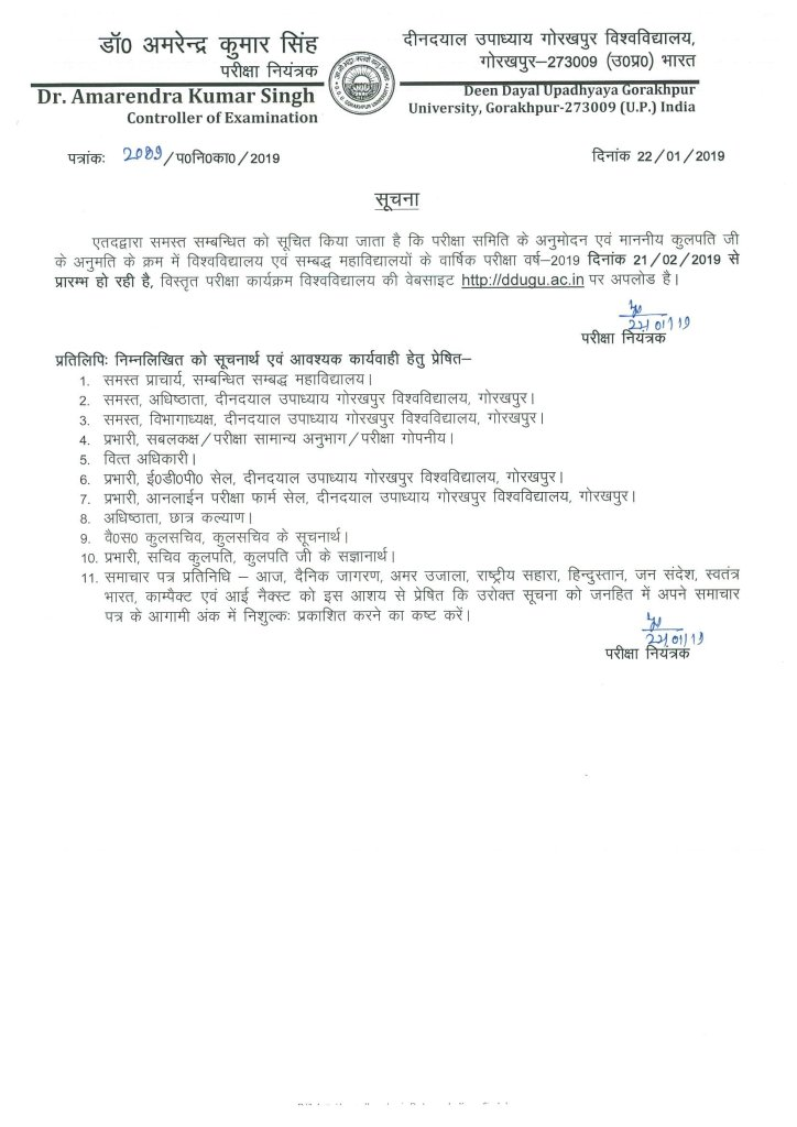 DDUGU Annual Exam Scheme 2020