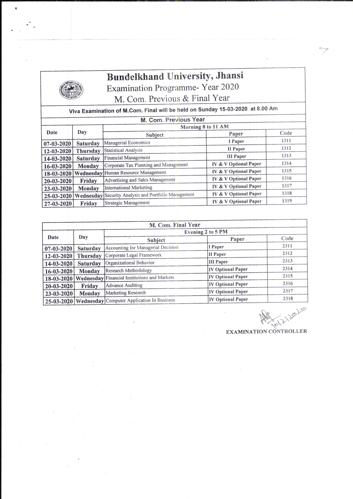 BU Jhansi MCom Scheme
