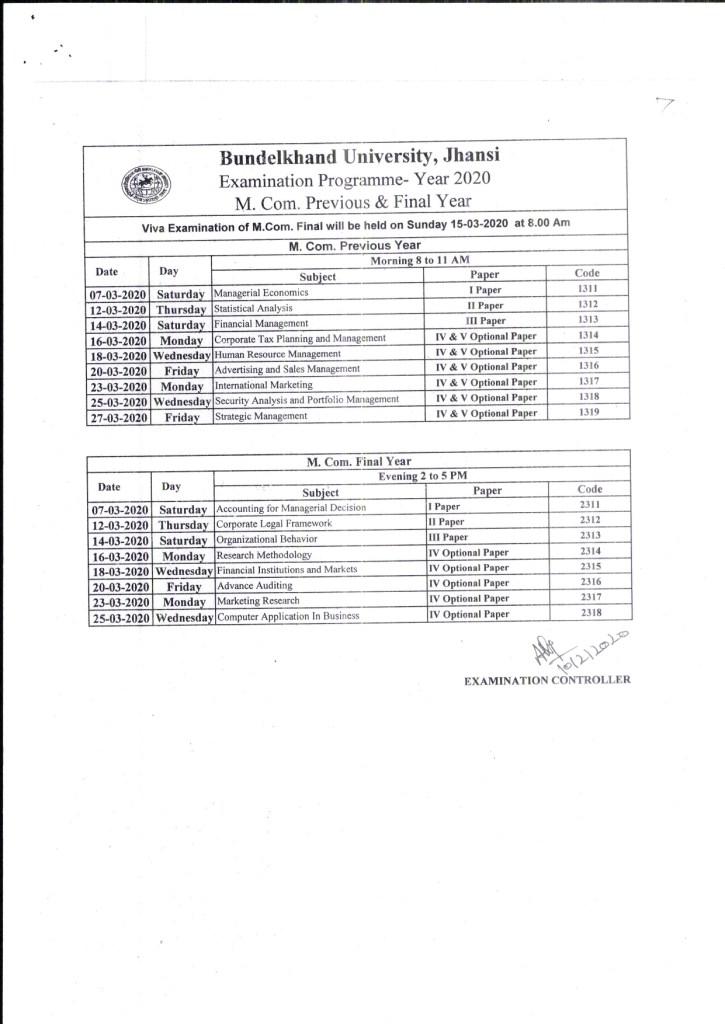 BU Jhansi Final Exam Scheme 2020