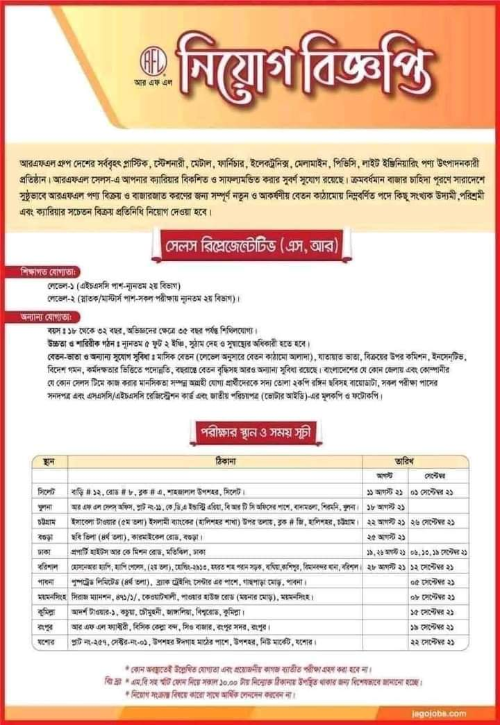 Pran-RFL Group Job circular
