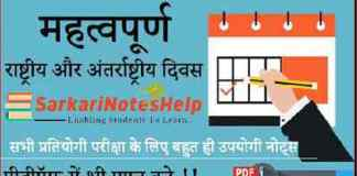 Important Days in Hindi Trick