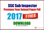 SSC Sub Inspector Previous Year Solved Paper