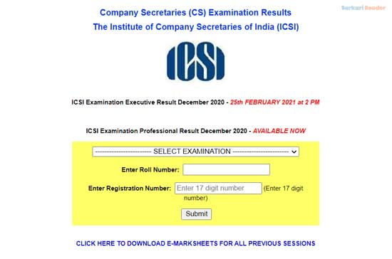 ICSI-CS-Exam-Result