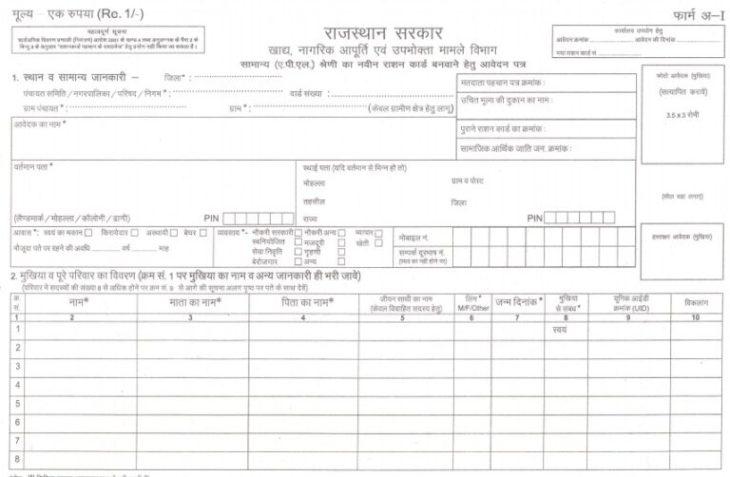राजस्थान राशन कार्ड आवेदन फॉर्म डाउनलोड करें