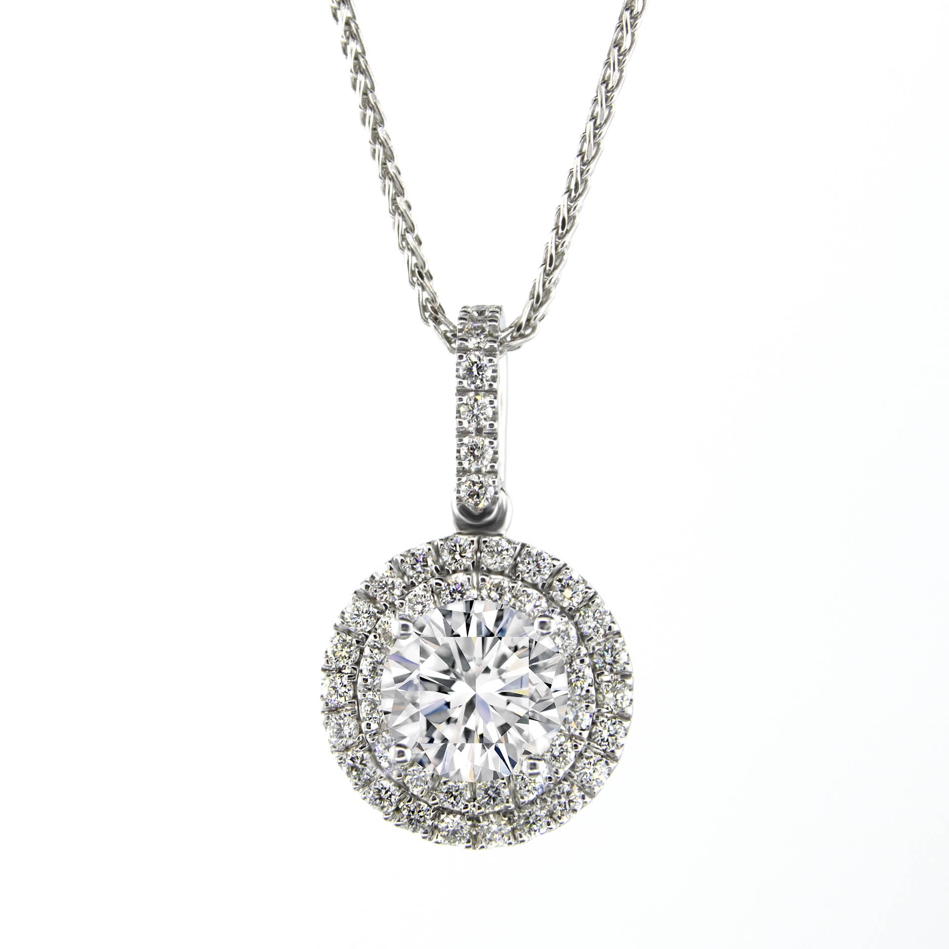 44 diamonds halo pendant sarkisians jewelry halo pendant with center diamonds pn691 1 aloadofball Choice Image