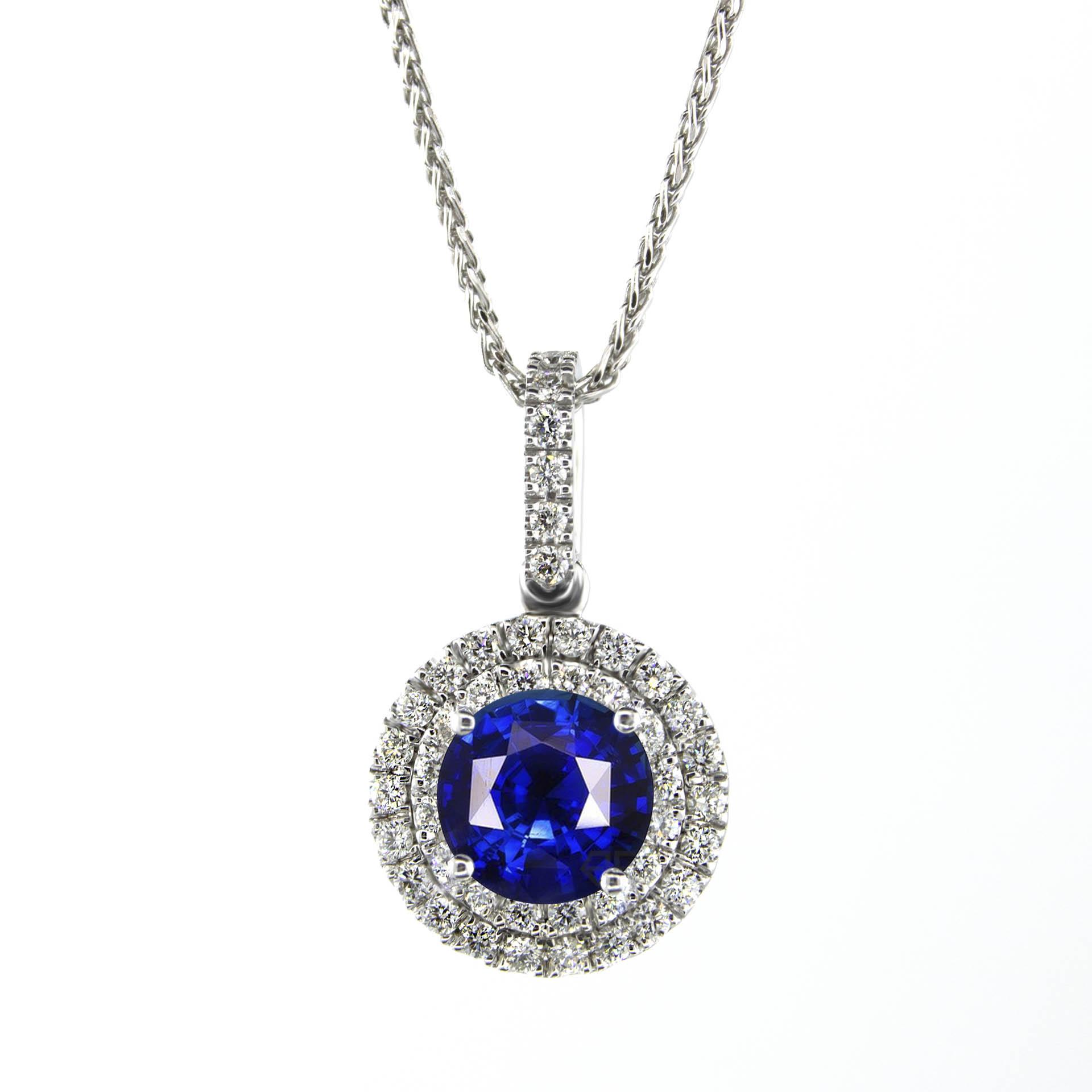 eca182198c19f 1.60 Carat Blue Sapphire Halo Necklace Pendant , Gold or Platinum ...