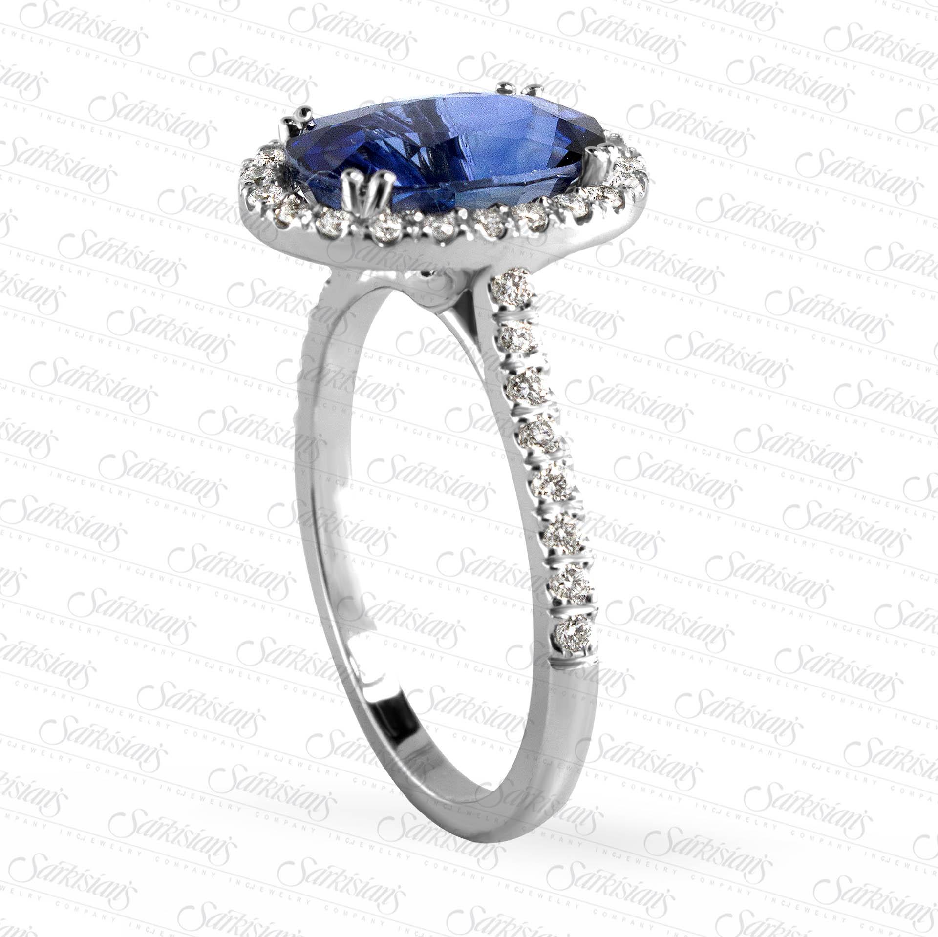 1 25 Carat Blue Sapphire Halo Diamond Engagement Ring, Gold