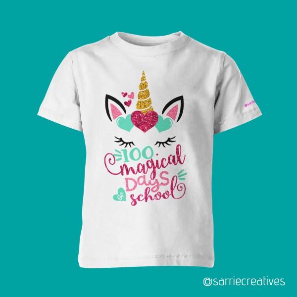 100 Days of School Unicorn Shirt by Sarrie Creatives