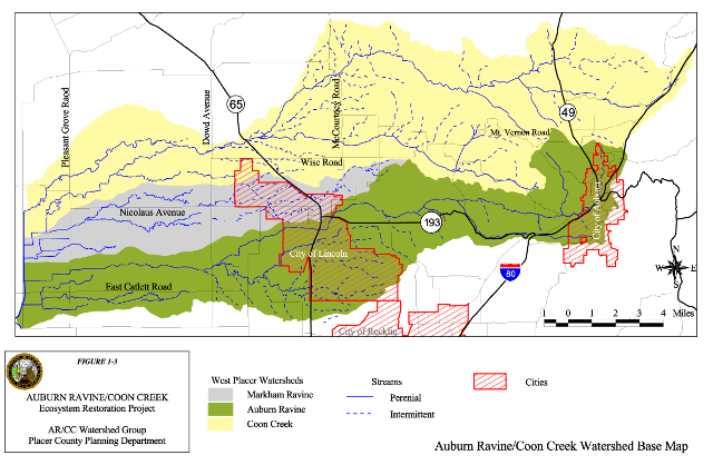 Auburn Ravine_Coon_Creek_watershedmap