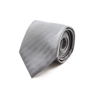 Γκρι μεταξωτή γραβάτα ψαροκόκκαλο