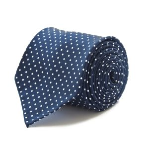 Handmade 3fold blue with white dots silk tie