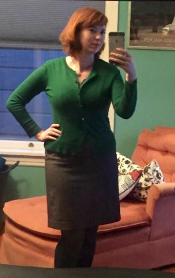 Grey sheath dress: Target. Green cardigan: New York and Company
