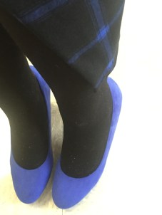 Blue plaid skirt and blue pumps from Old Navy