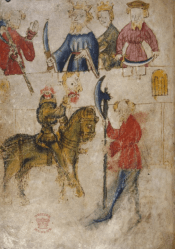 Image from the unique manuscript copy of SGGK at British Library (Cotton Nero A.x.)