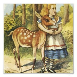alice-and-the-deer-tenniel-colour