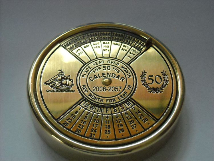 A 50-Year perpetual calendar made of brass, showing July, April, and January of 2008 by Wyatt915