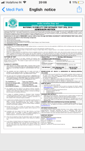 Neet Notification 2018