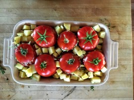 Place tops on the tomatoes and bake.