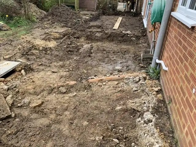 Area once patio removed ready to start digging footings