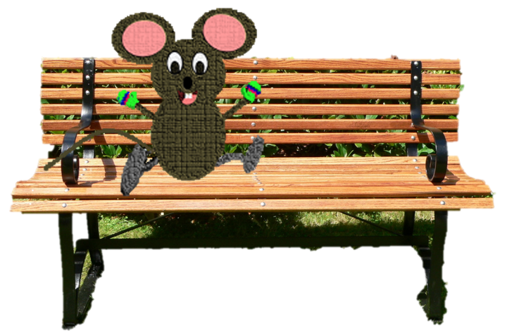 mouse on a bench