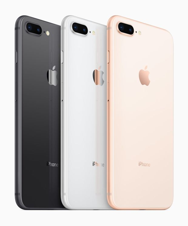 The new iPhone 8 and iPhone 8 Plus are available in three different colors: Space Gray, White and Rose Gold. Photo: Apple