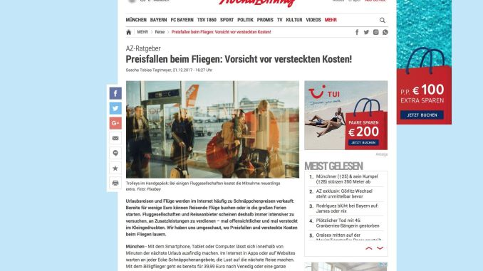 """AZ from the 21. December 2017: """"Contribution to the Munich Abendzeitung:"""" Price drops when flying: beware of hidden costs! """""""