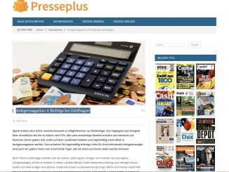 "Post at Presseplus: ""Investor magazines: 6 right with money issues!"""