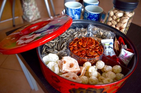 Traditional CNY candy box shared with friends and families during visits.