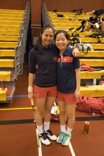 Alicia Aya Kurniawan and Momoe Kubota come together for a picture. Photo by Ariel So.