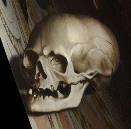 12. Λεπτομέρεια του κρανίου από τον πίνακα του Χόλμπαϊν, φωτογραφημένο από τη σωστή γωνία – που όμως παραμορφώνει τον υπόλοιπο πίνακα προσδίδοντας άλλη προοπτική.