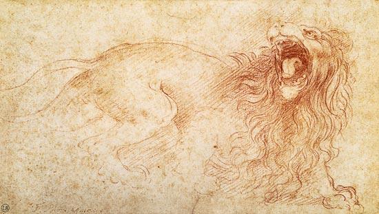 8. Σκίτσο λιονταριού του Ντα Βίντσι. Παρατίθεται για σύγκριση γραμμής και τεχνοτροπίας.