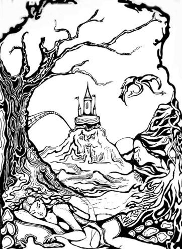 Sleeping fairy, ink on paper, 2006