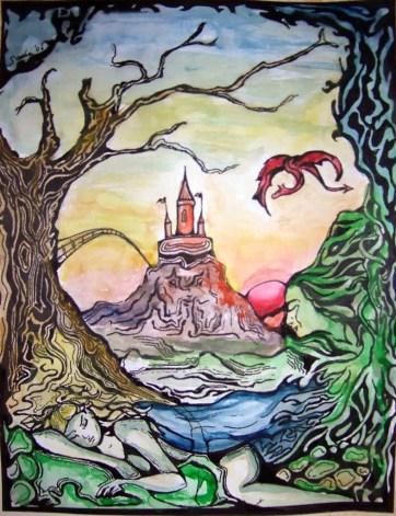 Sleeping fairy, ink & watercolour, 2006