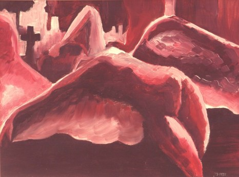 Grace of the fallen 1, 2003. Oil on paper. Private collection.