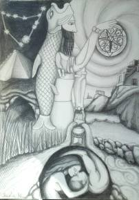 Oannes and the World of Forms. Pencil on paper, 2013. Available for sale.
