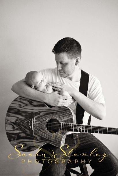 Sasha Stanley Photography : Dad and Lad : Guitar Newborn Photo : Atlanta, TX