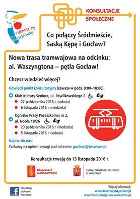 2016-10-23: konsultacje ws. tramwaju na Gocław