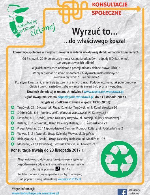 2017-11-20: konsultacje społeczne nowych zasad selektywnej zbiórki odpadów komunalnych