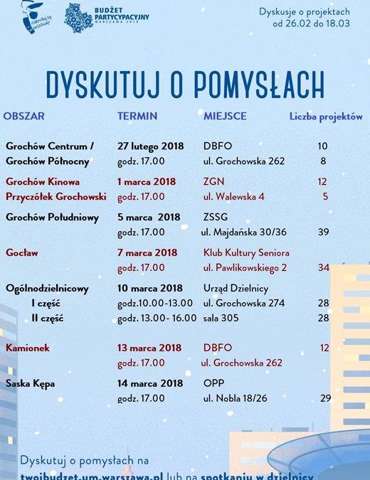 2018-03-14: spotkanie dyskusyjne o projektach zgłoszonych do budżetu partycypacyjnego 2019 w Dzielnicy Praga-Południe