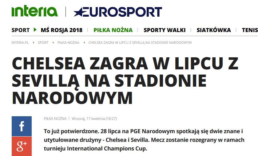 2018-07-28: mecz Chelsea – Sevilla na PGE Narodowym – odwołane!