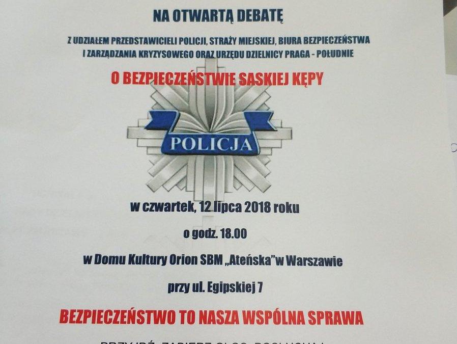2018-07-12: debata o bezpieczeństwie na Saskiej Kepie