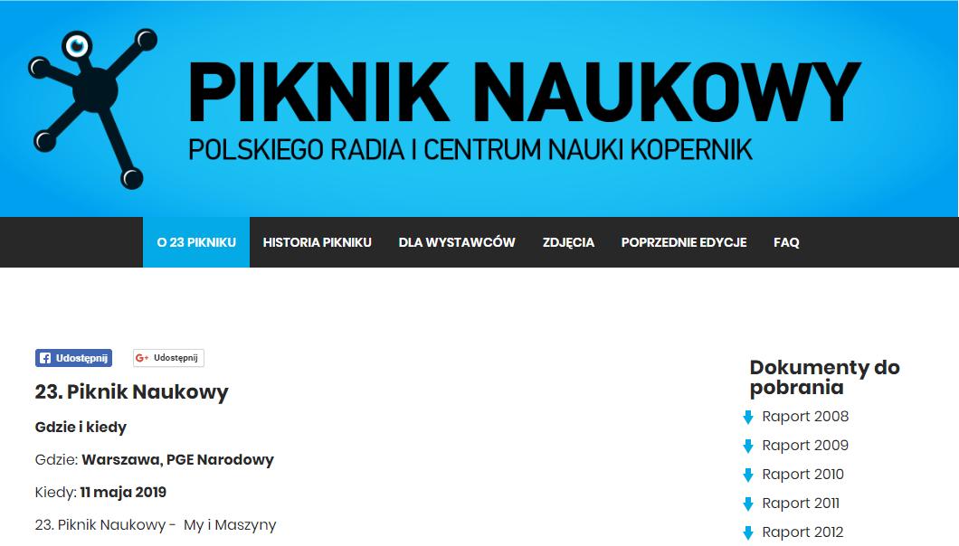2019-05-11: XXIII Piknik Naukowy