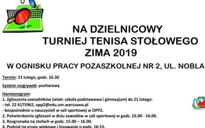 """2019-02-21: Dzielnicowy Turniej Tenisa Stołowego w """"Jordanku"""""""