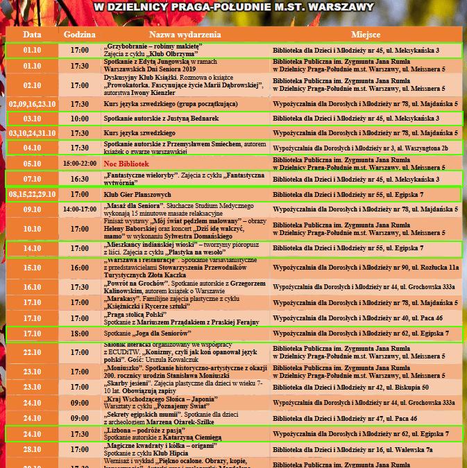2019-10-01 do 31: wydarzenia w filiach bibliotecznych na Saskiej Kępie